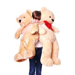 Girl with plush bears portrait