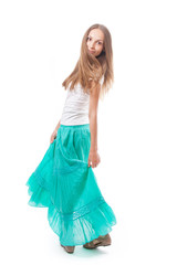 young woman in a long green skirt