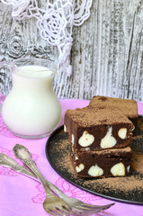 Brownie with ricotta.Selective focus.