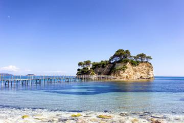 small island with bridge