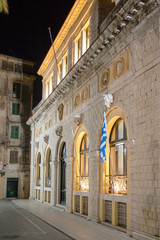 building in Corfu at night