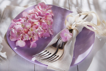 Hydrangeas in the table