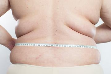 Frau und Übergewicht mit Maßband