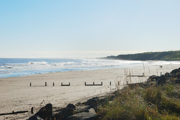 Spittal beach and surf in autumn sun