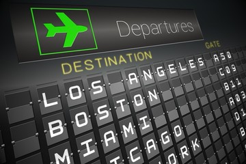 Black departures board for american cities