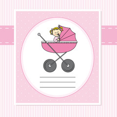 Birth Card. Baby girl in carriage