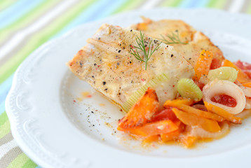 Stewed fish (haddock) with vegetables