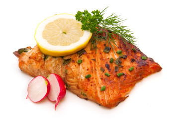 Grilled salmon fillet isolated on white.