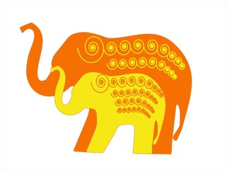 Elephant mother and child illustration