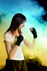 The girl in boxing pose