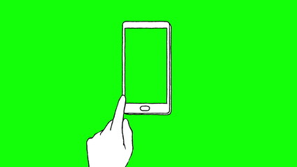 Touch screen gestures, hand drawn (green screen)