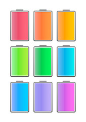 Colored battery icon set