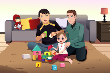 Young gay parents playing with their kid
