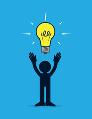 Figure with light bulb idea above head