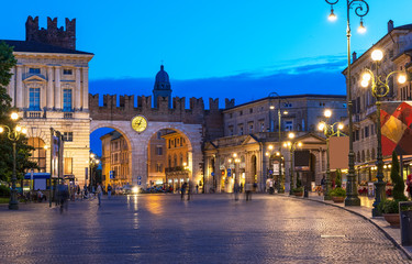 Medieval Gates to Piazza Bra in Verona at night, Italy