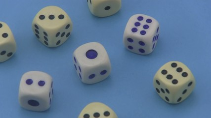 Dice on a blue background.