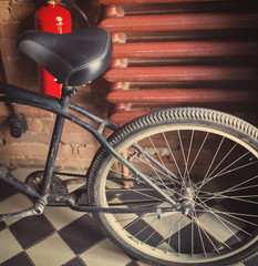 Old retro style, fixed gear bicycle, tinted photo