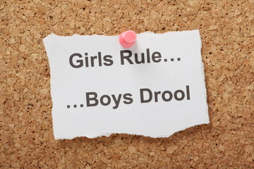 The phrase Girls Rule Boys Drool on a cork notice board