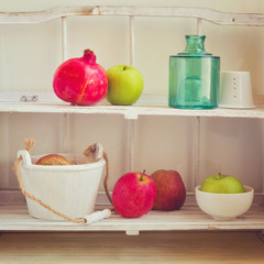 Vintage kitchen shelf with retro filter effect