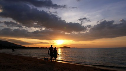 Honeymoon Couple Walking at Sunset and Enjoying Seashore.
