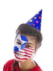 girl with stars and stripes face paint