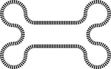 Railroad railway in a continuous wavy abstract pattern