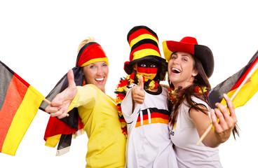 Deutsche jubelnde Fussballfans
