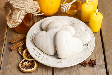 Gingerbread cookies in heart shape