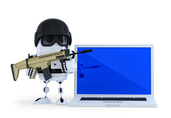 Robot with laptop. Security concept. Isolated, clipping path