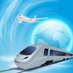 High-speed train and airplane in the sky
