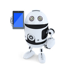 Robot holding mobile phone. Isolated. Clipping path