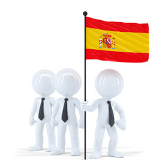 Business team holding flag of Spain. Isolated. Clipping path