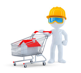 Builder with shopping cart. Isolated. Clipping path