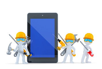 Construction team with tablet computer. Isolated, clipping path