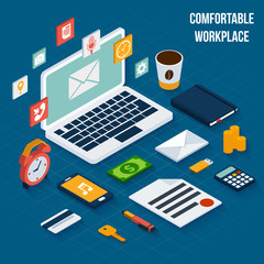 Workplace elements isometric