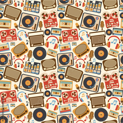 Music retro seamless pattern - 66312978