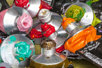 Tubes of acrylic color crushed and consumed
