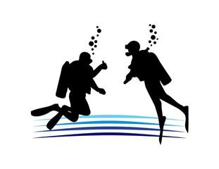 scuba silhouette logo,sea sport symbol,diving club icon