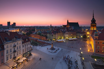 Warsaw Old Town Square at night