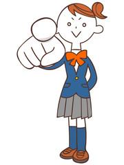 指を差す女子学生