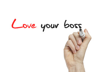 Hand writing love your boss