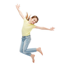 smiling little girl jumping