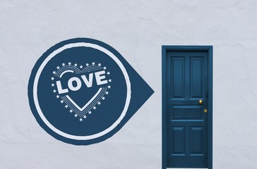 heart with stars symbol next to a blue door
