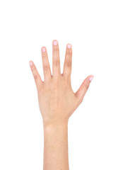 Woman left hand showing the five fingers isolated.