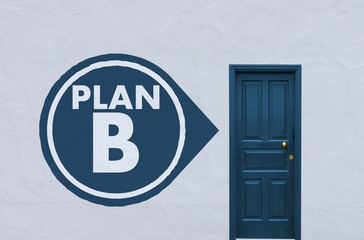 plan b icon next to a blue door