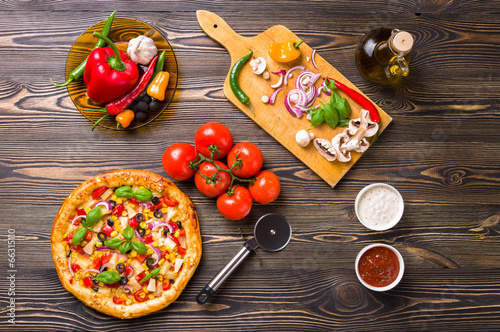 Homemade pizza, components, top view - 66315110