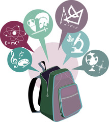 School backpack and symbols of subjects