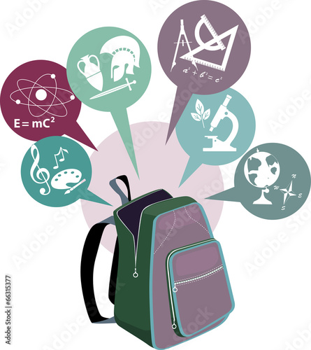 School backpack and symbols of subjects - 66315377
