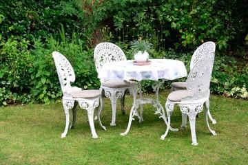Whjite cast iron garden chairs