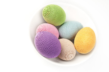 Colorful crocheted eggs